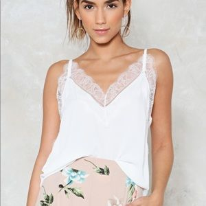 NWT Nasty Gal Delicate Subject Lace Top Size M/L